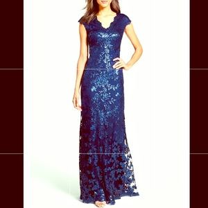 Tadashi Shoji Embroidered Sequin & Lace Gown